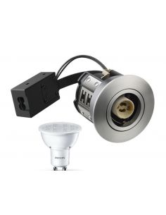 Philips AD10 LED Spot 230V 5W 2700K 65mm - Rustfri Stål