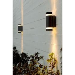 FOCUS Dobbelt Udendørs LED Væglampe i Sort