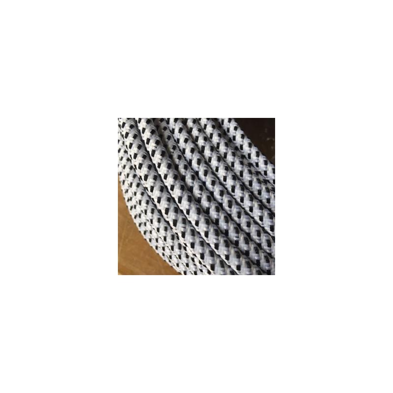 Hvid/Sort Stofledning - Ensfarvet 2X0,75 m2