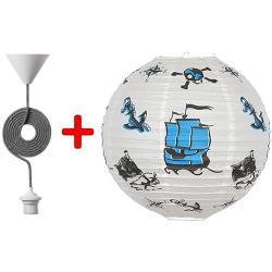 Komplet pendellampe med piratmoriv til børneværelset
