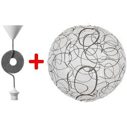 Mønstret pendel med cirkler, ø 35cm