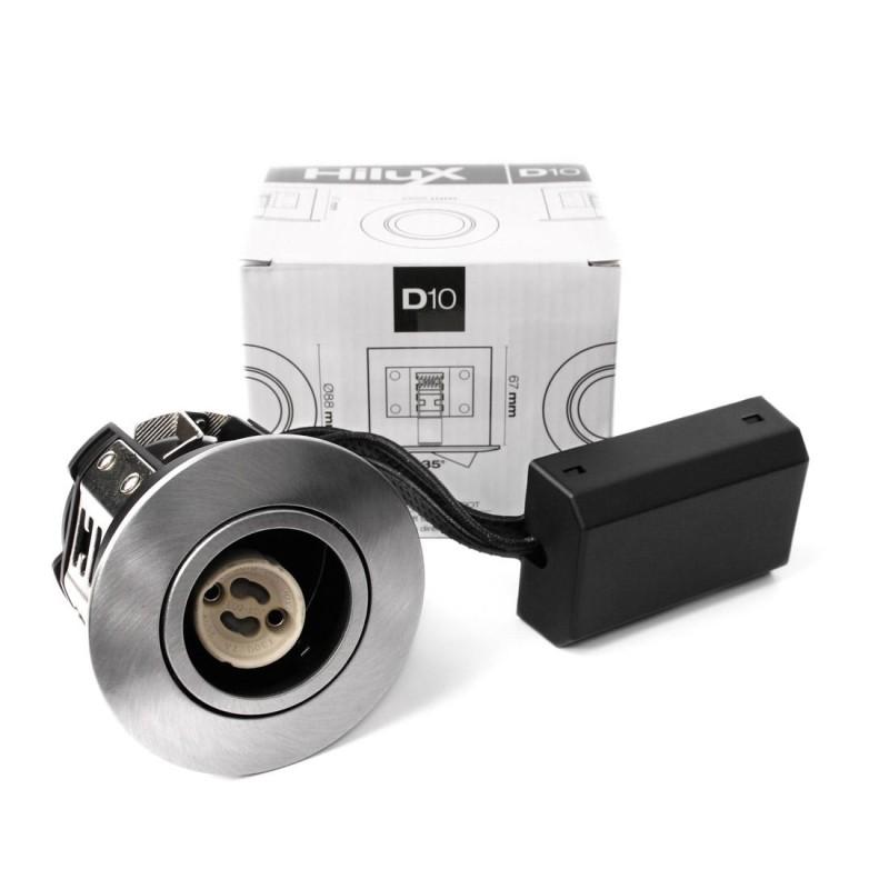 Hilux D10 Indbygningsspot 65mm 230V GU10 - Børstet Alu