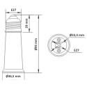 E27 Forlænger adapter - 95 mm