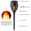 LED solcelle fakkel med realistisk flamme effekt