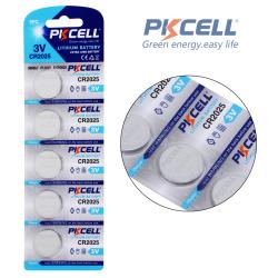 PKCELL CR2025 knapcellebatteri, 3V, 180mAh, Lithium