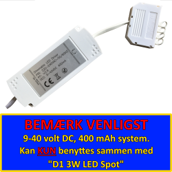 D1 Dæmpbar LED Driver 400mA For D1 Spot - 2-6 Udgange