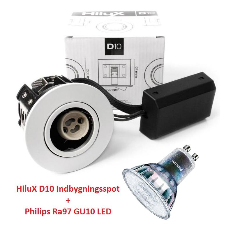 Philips Expert D10 LED Spot 5,5W 3000K Ra97 230V i Hvid
