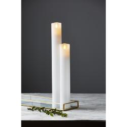 M-Twinkle LED Søjle Stearinlys 30cm Med Timer i Hvid