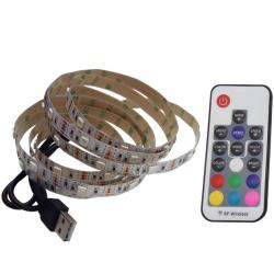 RGB USB RF LED Bånd 3-i-1-diode udgave 8W inkl. fjernbetjening - 2 meter