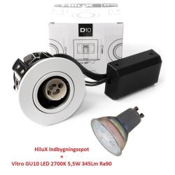 Vitro D10 LED Spot 5W 2700K 345Lm Ra90 230V i Hvid - Udendørs