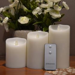 MovinFlame LED Bloklys med Timer og Fjernbetjening i HVID - Ø:7,5cm