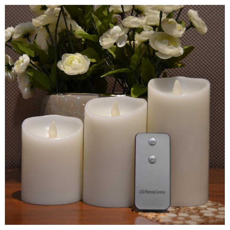 Movin Flame LED bloklys med timer og fjernbetjening HVID