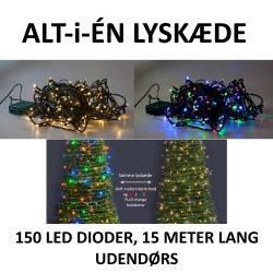 Varm Hvid og Multi color udendørs LED lyskæde med flere funktioner - 15 meter
