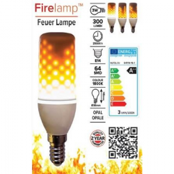 FIRELAMP™ E14 64 dioder flammepære - Klar glas