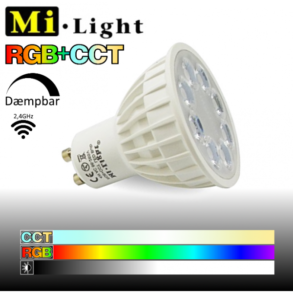 Mi•Light GU10 LED pære 4W 2700K-6500K + RGB 280Lm - Alt-i-én LED pære