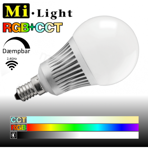 Mi•Light RGB+CCT, E14, 5W, 450LM, 2,4GHz