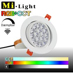 Mi•Light Kipbar Downlight LED spot, RGB+CCT, 86-265V, 9W, 700LM, 2,4GHz