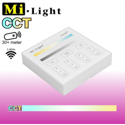 Mi•Light CCT vægpanel til batteri, 2xAAA, 4 Zoner, 60S power-off funktion