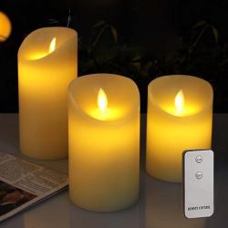 MovinFlame LED Bloklys med Timer og Fjernbetjening i HVID - Ø:9cm
