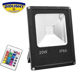 Kompakt RGB LED projektør, 20W, IP65, 2000Lm