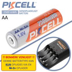 PKCELL 1,6V AA Ni-Zn opladeligt batteri