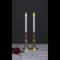 M-Twinkle LED Stearinlys 24cm Med Timer i Hvid - 2-pack