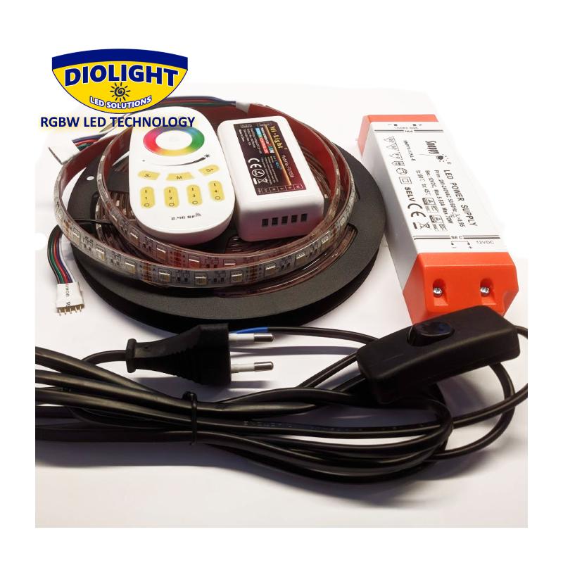 Diolight RGB+2700K LED Bånd Sæt IP65 Til 12VDC - 4-i-1 - 5 Meter