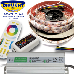 Diolight RGB+CCT LED bånd sæt IP65 5-i-1 LED chip 3000K-6000K