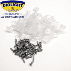 20 stk. DioClip Silicone Clips til LED bånd 14mm m. skruer