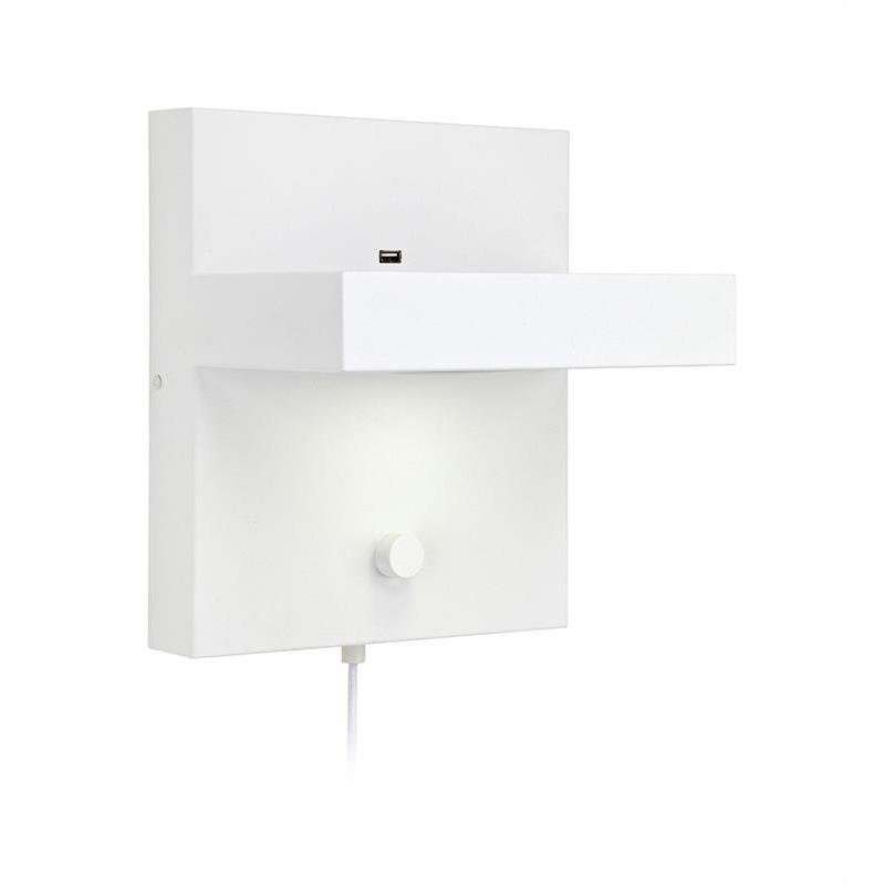 KUBIK Hylde LED Væglampe 230V Med USB Lader