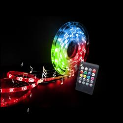 Komplet Musikstyret RGB LED Bånd - 5 meter inkl. clips