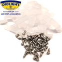 20 stk. DioClip Silicone Clips til LED bånd 12mm m. skruer