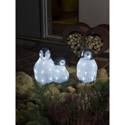 Pingvin Familie 3 stk. Med 48 LED Lys IP44 - Konstsmide