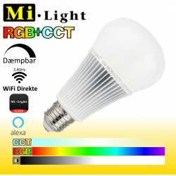 Mi•Light E27 RGB+CCT WiFi LED pære 9W 850LM