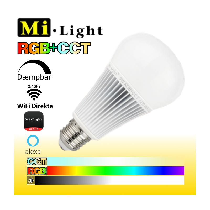 Mi•Light E27 RGB+CCT WiFi LED pære 9W 850LM