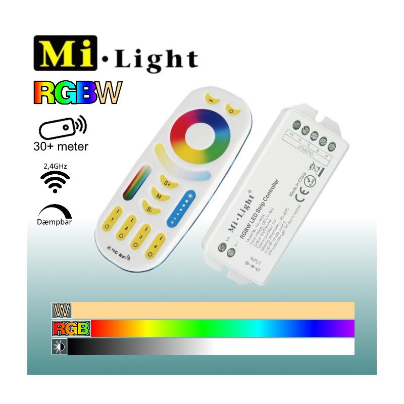 Mi•Light RGBW Sæt til LED bånd Fjernbetjening + Controller