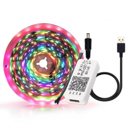 USB RGB Pixel LED Bånd 5V Bluetooth - 2 meter