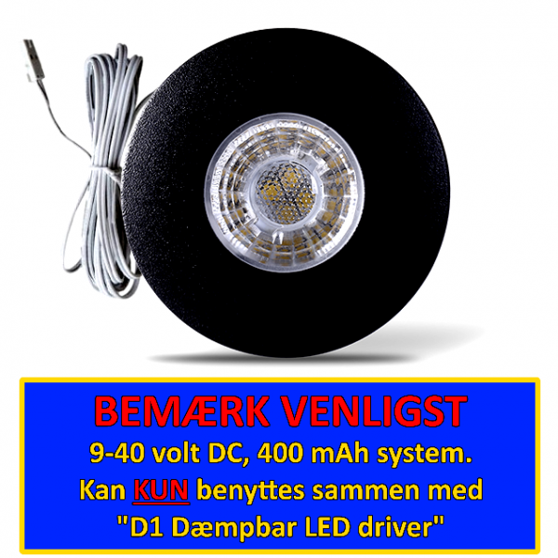 D1 LED Spot 3W 2700K 200Lm Dim Ra95 - Sort