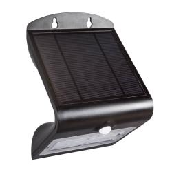 LED solcelle væglampe med sensor IP65 3,2W 400LM 3000K - Sort
