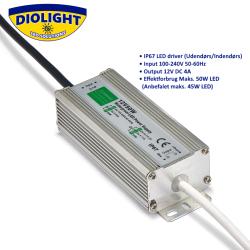 230V kvalitets LED driver 12V DC IP67 1-50W udendørs/indendørs