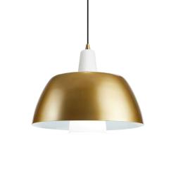 SOLO Pendel Lampe E27 i Guld/Hvid - Markslöjd