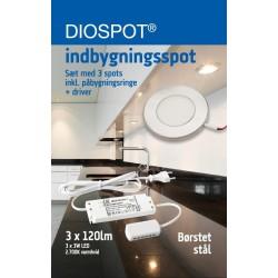 DIOSPOT LED Møbelspot 3W 2700K Ra90 i Hvid - Komplet