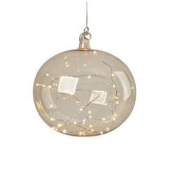 LINA Pendel Glaskugle 18cm Med 20 LED - Røgfarvet