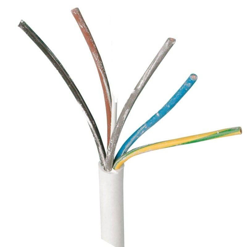 Downlight kabel Hvid 230V 5x1,5mm2 til indbygningsspot 90°