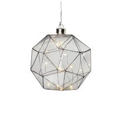 LINA Pendel Glaskugle 18 cm Med 20 LED - Røgfarvet