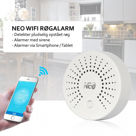 SMART WiFi røgalarm / Røg detektor. Smartlife, Tuya Smart, Google Home / Assistant, Amazon Alexa / Echo