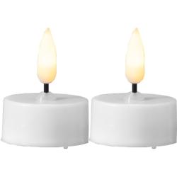 3D LED Flamme Fyrfadslys Med Timer i Hvid - 2-pak