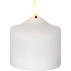 LED Flamme 3D Bloklys Med Timer 9cm Høj - Hvid