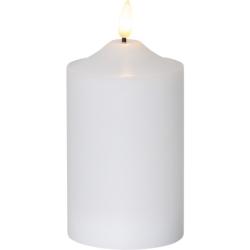 LED Flamme 3D Bloklys Med Timer 15cm Høj - Hvid